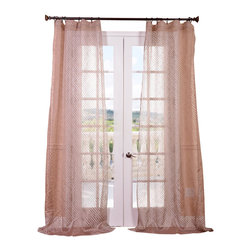 """Exclusive Fabrics & Furnishings, LLC - Zara Taupe Patterned Sheer Curtain - 100% Polyester. 3"""" Pole Pocket. Imported. Dry Clean Only."""