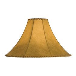 Meyda Tiffany - 20 in. Hexagon Replacement Shade - Includes spider for use on a small lamp. Trimmed with leather like lacings. White fabric lining for added light reflection. Made from faux leather. Tan color. 20 in. W x 13 in. H