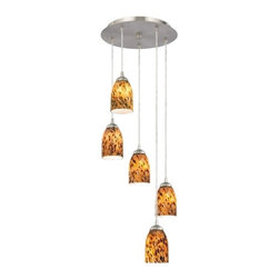 Design Classics Lighting - Modern 5-Light Pendant Light with Brown Art Glass- 580-09 GL1005D - Contemporary / modern satin nickel 5-light mini-pendant light. Includes one satin nickel five port ceiling canopy. Each mini-pendant comes with 7-feet of clear cuttable cord that allows for custom height adjustability for each pendant. Takes (5) 100-watt incandescent A19 bulb(s). Bulb(s) sold separately. UL listed. Dry location rated.