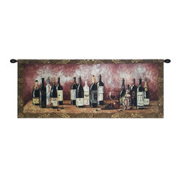 Fruit & Wine Melody Tapestry - Beautifully crafted wall hanging perfect for your home wine bar. Shows various wine bottles displayed on a rustic table.  Primary colors are red and beige.  Comes with a black tapestry rod for easy hanging.