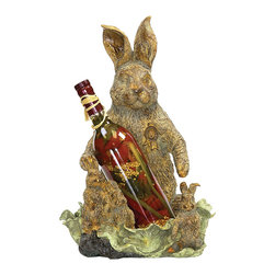 Sterling Industries - Rabbit Wine Holder - This rabbit wine holder is great for displaying whiskey, beer and other beverages. Whimsical and fun way to add character to any bar or dining room. Makes a great gift to your friends. Fits most standard bottles. It's 11 inch long, 9 1/4 inch wide and 16 1/4 inch high.