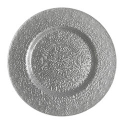 Jay Import Co. - Alinea Charger Plate, Silver - Elegance spirals outward on this golden charger plate, which will bring any dining experience to the next level of loveliness.  Serving food on this plate will make your meal matter by creating something beautiful in the setting.