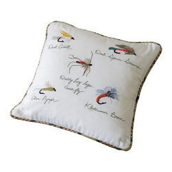 Taylor Linens - Fishing Flies Toss Pillow - You'll fall for this playful pillow hook, line and sinker! Perfect for the cottage or cabin, it's hand-embroidered on machine-washable cotton and comes with a natural goose feather and down insert for added comfort. The reverse side is covered with a country plaid.