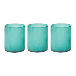"Jamie Young - Jamie Young Sea Glass Small Hurricane Set - In a shade of aqua that brings to mind the color of the Caribbean Ocean, this trio of small sea glass hurricanes by Jamie Young makes a striking accent on a mantle or side table. 5""H x 6.5""D; Set of 3; Sea glass; Candles not included; Not food safe."