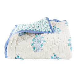Mayoor Toddler Quilt - The Mayoor toddler quilt features calming periwinkle and turquoise colors in a peacock design on one side and a bohemian paisley on the reverse.
