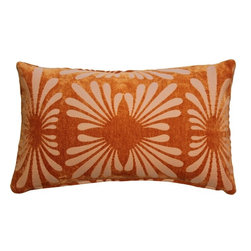 Pillow Decor - Pillow Decor - Velvet Daisy Orange 12 x 20 Throw Pillow - A subtle daisy pattern appears embossed on this tone on tone orange throw pillow. The Velvet Daisy Orange 12 x 20 rectangular pillow will work well in range of settings, lending itself to both formal and casual living spaces.