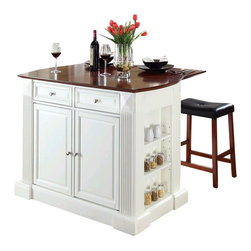 Crosley Furniture - Crosley Coventry Drop Leaf Breakfast Bar Kitchen Island with Stools in White - Crosley Furniture - Kitchen Carts - KF300074WH