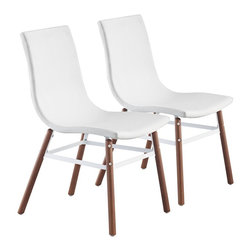 """Zuo - Set of 2 Zuo Stavenger White Accent Chairs - Set of 2 Zuo Stavenger White Accent Chairs Set of 2 chic accent chairs. White leatherette one-piece seat. Solid wood and metal construction. Simple natural finish wood legs. Powder coated metal supports. Extra seating anywhere you need it. A beautiful addition to your home from Zuo Modern. Assembly required. 19"""" wide. 23 1/2"""" deep. 34"""" high.   Set of 2 chic accent chairs.  White leatherette one-piece seat.  Solid wood and metal construction.  Simple natural finish wood legs.  Powder coated metal supports.  Extra seating anywhere you need it.  A beautiful addition to your home from Zuo Modern.  Assembly required.  19"""" wide.  23 1/2"""" deep.  34"""" high."""