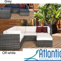 Atlantic - Modena Grey/Off-White 6-piece Wicker Sectional - This six piece wicker sectional features a synthetic wicker finish. This lovely sectional is the perfect addition to any patio or backyard.