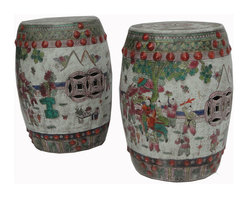 Golden Lotus - Pair Garden Stool Unique Chinese Antique Hand Painting Round Porcelain Stand - This is a pair of round Chinese antique garden stool which is made of porcelain. It is different with other kind of stool at the market. It comes with 100% hand painting which represents kids playing at playground. It is a gorgeous piece to decorate your living room or garden.