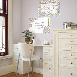 WallPops - WallPops Kolkata Dry Erase Calendar Message Board Combo Vinyl Wall Art - Featuring a subtle and neutral ethnic design accented with peel and stick diamond gem embellishments,this set contains a 13-inch x 17.75-inch message board and calendar decal. Safe for walls,these WallPops vinyl decals are repositionable and removable.