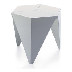 IMPORT LIGHTING & FUNITURE - Replica Isamu Noguchi Prismatic Side Table, White - Prismatic Stool Table is based on purely geometric forms. This novel three-legged side table with its hexagonal tabletop is made of folded plastic and was inspirerd by traditional Japanese paper folding techniques.