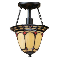 Elk Lighting - Burnished Copper Diamond Ring Single-Light Semi-Flush Ceiling Fixture - Description: