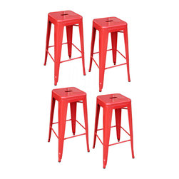 Buffalo Tools - AmeriHome 4 Piece 30 Inch Metal Bar Stool Set - Red - 4 Piece 30 Inch Metal Bar Stool Set - Red by AmeriHome These AmeriHome Metal Bar Stools are durable enough for use in the shop, and stylish enough to use in the kitchen, game room, bar, basement, dorm room, or loft. Ideal for small spaces, the bar stools easily and neatly stack together, making them easy to stash out of the way for storage. A handle in the seat makes the stools easy to pick up and move.  Lightweight and sturdy, each stool weighs only 12.5 lbs., but is strong enough to hold up to 330 lbs. Each Metal Bar Stools has a brace under the seat that provides additional support and stability. No-mar rubber feet keep them from sliding and scratching hardwood floors. They bar stools are painted a bright red with a scratch-resistant powder coat paint finish. Each Bar Stool stands 30 inches tall with a seat measuring 12 in L x 12 in W. Sold in a set of 4.  Industrial, modern look for kitchen, dorm, or shop Scratch-resistant powder coated paint finish Easily stacks for convenient storage X-brace support under the seat for stability and durability Seat height: 30 in.  Seat size: 12 in L x 12 in W 17 in W x 17 in D x 30 in H Weight Capacity: 330 lbs. Each stool weighs 12.5 lbs. Sold in a set of 4