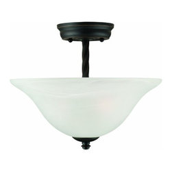 DHI-Corp - Drake 2-Light Semi Flush Ceiling Mount, Oil Rubbed Bronze - The Design House 514935 Drake 2-Light Semi Flush Ceiling Mount is made of formed steel, alabaster glass and finished in oil rubbed bronze. This 2-light ceiling mount is rated for 120-volts and uses (2) 60-watt medium base incandescent bulbs. As one of the most popular styles of light fixtures, ceiling mounts are suited for any room in the house as they hang close to the ceiling with a classic half-moon shape. Measuring 11-inches (H) by 13.2-inches (W), this 5-pound fixture has twisted steel that accentuates the alabaster glass for an elegant accent in a hallway, kitchen or dining room. This product is UL and CUL listed. The Drake collection features a beautiful matching chandelier, vanity light, pendant, wall mount and ceiling mount. The Design House 514935 Drake 2-Light Semi Flush Ceiling Mount comes with a 10-year limited warranty that protects against defects in materials and workmanship. Design House offers products in multiple home decor categories including lighting, ceiling fans, hardware and plumbing products. With years of hands-on experience, Design House understands every aspect of the home decor industry, and devotes itself to providing quality products across the home decor spectrum. Providing value to their customers, Design House uses industry leading merchandising solutions and innovative programs. Design House is committed to providing high quality products for your home improvement projects.