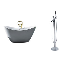 "AKDY - AKDY 67"" AK-ZF210+8711 Europe Style White Acrylic Free Standing Bathtub+Faucet - AKDY free standing acrylic bathtubs come in many styles, shapes, and designs. The acrylic material used for tubs is very durable, light weight, and can be molded into a variety of shapes and styles which explain the large selection available in this product category. Acrylic free standing tubs are a cost efficient way to give your bathroom a unique beautiful touch. A bathtub is no longer just a piece of cast iron metal thrown into a bathroom by a builder."