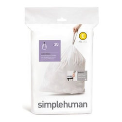 Simplehuman - simplehuman Code E Butterfly 20-Liter Bin Liner (Pack of 20) - Get the perfect fitting bag liner for your simplehuman butterfly trash can. Durable liners feature carrying handles for convenience and are easy to insert.