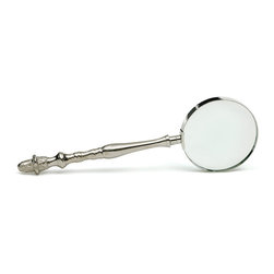 """Go Home - Go Home Library Magnifier - This Library Magnifier looks stately and scholarly. It""""s been made of brass and is polished with nickel. The touch and feel is very expensive but can be procured at modest piece."""