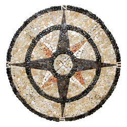 Pebble Stone Medallion Mosaic Compass Rose 48 Inches - Pebble medallion 48 inches
