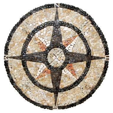 Pebble Stone Medallion Mosaic Compass Rose 48 Inches - Pebble medallion 48 inches