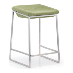 ZUO MODERN - Lids Counter Chair Green (set of 2) - With a smart retro fabric seat and classic stainless steel base, the Lids series are perfect for any modern kitchen or bar.
