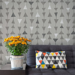Triangulations Wall Stencil - A geometric triangle stencil pattern with a whimsical vibe, the Triangulations Modern Wall Stencil from the Bonnie Christine Stencil Collection (Royal Design Studio) is offered in two sizes. Use the large size stencil pattern for wall and floor stencil projects.