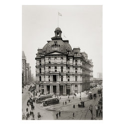 """Manhattan Post Office, Broadway Print - The City Hall Post Office and Courthouseis a no longer existing building which was designed by architectAlfred B. Mullettfor a triangular site inNew York CityalongBroadwayinLower Manhattan, across City Hall Park fromNew York City Hall. TheSecond Empirestyle building, built between 1869 and 1880, was not well received. Commonly called """"Mullett's Monstrosity"""", it was demolished in 1939 and the site was used to extend City Hall Park to the south. {Via Wikipedia}"""