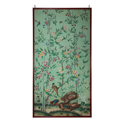Chinese Export Wallpaper Panel - A framed antique Chinese Export Wallpaper Panel is a lovely alternative to wallpapering the entire room.