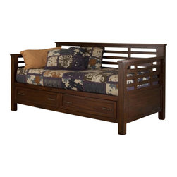 Home Styles - Home Styles Cabin Creek Storage Daybed - Home Styles - Daybeds - 541085 - Our Cabin Creek collection conveys a reclaimed wood vintage feel.  Each piece is physically distressed by hand providing a unique one of a kind look.  The Cabin Creek Daybed by Home Styles is constructed of mahogany solids and veneers in a multi-step chestnut finish.
