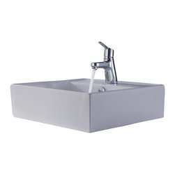 Kraus - Kraus White Square Ceramic Sink and Ferus Basin Faucet Chrome - *Add a touch of elegance to your bathroom with a ceramic sink combo from Kraus