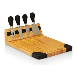 Picnic Time Artisan Cutting Board - Natural Wood with Black Accents - Even if you don't know Havarti from Velveeta the Picnic Time Artisan Cutting Board - Natural Wood with Black Accents gives you the look and the tools of a fromage connoisseur. The board is crafted from eco-friendly bamboo that incorporates a heavy-duty magnet with a silicone cover to keep the matching set of cheese tools securely in place. The pair of knives cheese chisel and fork all have matching TPR-coated handles. The corners of the board share the same black accents that give this set a modern elegant appearance. About Picnic TimeEven the name makes you smile! Since 1982 Picnic Time's mission has been to sell traditional European-style picnic baskets in America that everyone could afford. The company has continued to develop innovative and practical outdoor leisure products that inspire relaxation with friends and family. With a product line that continues to develop far beyond the traditional picnic basket (though theirs are the finest picnic baskets around!) Picnic Time will take you to the beach the country the mountains ... or best of all your own backyard.