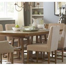 Broyhill - Relaxed elegance and understated style: The Hampton Dining Room Collection designed by GlucksteinHome combines casual silhouettes and modern functionality. Hampton features quartered oak veneers finished in a light mocha with wire-brushed putty glaze and recessed polished-nickel hardware.