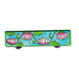 Paper Scissors Rock - Lotus Drawer Pull - Our Drawer Pulls are exclusively available online at Houzz.com. These colorful accents will brighten up any room, cabinet or piece of furniture. Each one starts with an original watercolor by artist Pamela Corwin, which is reproduced and sandwiched in between two durable layers of durable acrylic and mounted on a chrome finished base.  They are a perfect way to bring new life to a bureau, cabinet or even in the bathroom. Standard 8-32 screws included