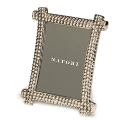 Natori - Natori 5x7 Semi Round Picture Frame W/Hammered Effect - Made from aluminum and painted with nickel coloring, this Natori picture frame is an interesting way to display your favorite photos. Aluminium
