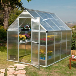 Poly-Tex, Inc. - Mythos 6' x 8' Hobby Greenhouse - Silver - The Mythos Silver 6' x 8' Hobby Greenhouse features a rust-resistant brushed aluminum frame and a heavy-duty galvanized steel base. Twin-wall, 4mm polycarbonate panels offer diffuse light to your plants and twice the heat retention of single layer panels. Integrated gutters allow rainwater collection. Adjustable roof vent and swinging door provide ventilation. Get growing today and let the Mythos help you bring your green dreams to life.