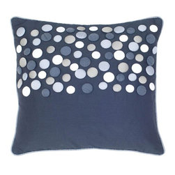 Silver Nest - Dots Pillow - Set of Two Pillow Covers with Hidden Zippers. Down Pillow Inserts Included.Poly Slub Fabric. Button and Welt Details.