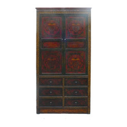 Golden Lotus - Chinese Tibetan Teasure Vase Grapic Armorie Accent Storage Cabinet - This is an old cabinet restored. The surface has been painted with traditional Tibetan symbol graphic. The main theme is the treasure ribbon , fishes, umbrella and the jar.