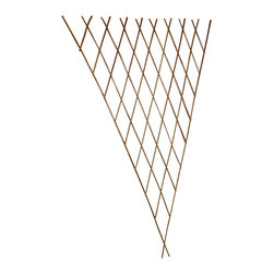 "Master Garden Products - Carbonized Barkless Willow Expandable Fan Trellis, Set of 2 pcs. 24""W x 60""H - Our carbonized barkless willow fan trellis is constructed with processed carbonized willow sticks that is self standing. Use them for on top of planters or for climbing vines and roses. They will add a another dimension to your garden design. Willow fan trellis is foldable, and can be stored away easily. The clean looking peeled classic willow fan trellis consists of pressure treated willow sticks. The process of carbonization deepens the color of the smooth, skinless, willow sticks to a rich caramel color. They are less likely to be attacked by insects and will age to a grey color. Expands to 30""W at the top at 60"" H"