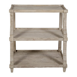 Low Display with a Medium Antique Painted Finish - With mildly curved uprights supporting a trio of rimmed, tray-style shelves, the Reclaimed Lumber Low Display is a modest piece to the first glance, but the depth achieved through an artisan wash over genuine repurposed wood makes it a fitting piece for presenting curios and treasures.  Open-sided, this display shelf serves well for ornaments but can also be used as a half-height bookshelf that lets your interesting bookends have equal light.