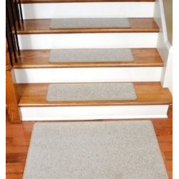 """Dean Flooring Company - Dean Carpet Stair Treads 27"""" x 9"""" Fresco Beige Plush (13) plus 2' x 3' Mat - Dean Carpet Stair Treads 27"""" x 9"""" Fresco Beige Plush (13) plus 2' x 3' Mat : Quality, Stylish Carpet Stair Treads by Dean Flooring Company. Extend the life of your high traffic hardwood stairs. Reduce slips/increase traction (treads must be properly secured to your stairs). Cut down on track-in dirt. Great for pets and pet owners (helps your dog easily navigate your slippery stairs. 100% Premium quality nylon. 35 ounce stain and spill resistant PLUSH carpeting. Dean signature rounded corners. Add a fresh new look to your staircase. Set includes 13 carpet stair treads PLUS one roll of double-sided carpet tape for easy, do-it-yourself installation and a matching 2' x 3' landing mat. Each tread is finished on the edges with color matching yarn. No bulky fastening strips. You may remove your treads for cleaning and re-attach them when you are done. Add a touch of warmth and style to your stairs today with new stair treads from Dean Flooring Company!"""