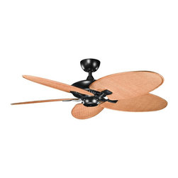 """Kichler - 52"""" Canfield Climates Black Outdoor Ceiling Fan - Pull chain operated, this satin black finish fan has five toffee wicker blades that have an all weather design for outdoor use. Sleek and tropical inspired, this outdoor ceiling fan is classic and unadorned. A satin black finish motor is paired with toffee wicker all weather ABS blades for a refreshing breeze during hotter weather. From the Kichler Canfield Climates collection of ceiling fans. (IMAP)"""