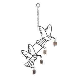Benzara - Metal Bird Wind Chime with Curvy Base - Give a natural charm to your home decor with 21 in. H High Quality Metal Bird Wind Chime with Curvy Base. This well-designed metal bird wind chime provides an aura of elegance and style to your home decor. The bells fill the home with pleasing sound, creating an ambience of cheer and happiness. This high performance wind chime is suitable to hang on the roof of your patio or porch, and is also perfect to decorate your living space. The lightweight bells dance to the tunes of the wind and create an interesting sound, filling your mind with peace and bliss. The links provided on top of it helps in conveniently hanging this wind chime at any desired place. It is built with high quality metal that bestows better durability and long life to the wind chime..