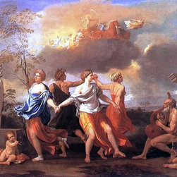 """Nicolas Poussin Dance to the Music of Time - 18"""" x 24"""" Premium Archival Print - 18"""" x 24"""" Nicolas Poussin Dance to the Music of Time premium archival print reproduced to meet museum quality standards. Our museum quality archival prints are produced using high-precision print technology for a more accurate reproduction printed on high quality, heavyweight matte presentation paper with fade-resistant, archival inks. Our progressive business model allows us to offer works of art to you at the best wholesale pricing, significantly less than art gallery prices, affordable to all. This line of artwork is produced with extra white border space (if you choose to have it framed, for your framer to work with to frame properly or utilize a larger mat and/or frame).  We present a comprehensive collection of exceptional art reproductions byNicolas Poussin."""