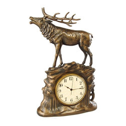 OK Casting - Stag Desktop Clock - Vintage Gold - 0755-VG - Shop for Clocks from Hayneedle.com! Sure your last stag night may have been slightly less than stately but you can recover your image in a second with the Stag Desktop Clock - Vintage Gold. Chic and refined this traditional desktop clock will make your workspace a bit more masculine and modern too. It's crafted of hand-cast resin with a gorgeous vintage gold finish. It features quartz movement operation for durability that lasts. The unique stag design makes a great gift or accent piece.About OK Casting LLCSince 1993 OK Casting has been serving the home gift and private artist market with memorable home decorative accessories. Hand-made and manufactured in the United States OK Casting's products are created from the finest and most durable resins. Whether for their lamps wall decor bookends or statutes OK Casting is known for exquisite craftsmanship and attention to detail. Inspired by lodge wildlife and equine artwork each piece radiates beauty and quality for your home cabin or lodge decor.