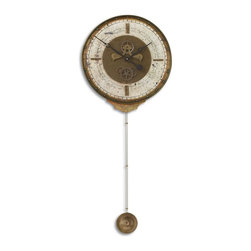 Uttermost - Uttermost 06004 Leonardo Chronograph Cream Traditional Wall Clock - Weathered laminated clock face with a cast brass outer rim, brass center components and long working pendulum. Requires 1-AA and 1-D battery.