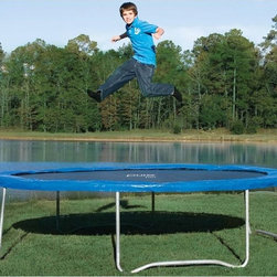 Pure Fun - Pure Fun 14-ft. Trampoline with Optional Enclosure - JZP021 - Shop for Trampolines from Hayneedle.com! Additional FeaturesNo-weld t-joints last longer than weldsGalvanized steel parts are rust resistant8 rows of stitching keeps v-ring secureW-shape frame legs give added stabilityThick foam padding has a durable vinyl coveringPolypro jump pad is made in the USAHeavy duty galvanized steel springsEnclosure has an easy entry zipper for securityMesh fabric is UV resistantSteel clamp connectors for leg polesPoles have protective plastic top capsElastic net straps are sewn inNetting is made from polyethylene teryleneASTM approvedTUV and GS quality and safety certifiedComes with patented assembly toolIncludes a limited 2-year warrantyA great family activity jumping around a trampoline is not only fun but also gives your family quality time together and even has the added benefit of exercise. The Pure Fun 14-ft. Trampoline with Optional Enclosure can hold up to 250 lbs. and has a frame as well as heavy-duty springs made from galvanized steel that is resistant to rust. With secure patented no-weld t-joints which last longer than welded t-joints you won't have to worry about your trampoline falling apart. Eight rows of stitching keeps the v-ring secure and the W-shaped legs give added security. The thick foam padding adds security and is covered in durable vinyl. Also the polypro jump pad is made in the USA. The optional enclosure has an easy entry zipper and features UV resistant mesh fabric. The leg poles have steel clamp connectors as well as protective plastic top caps. The netting is made from polyethylene terylene and has elastic net straps sewn in. Both the trampoline and the enclosure are ASTM approved and are TUV and GS quality and safety certified. The trampoline comes with a patented assembly tool and a limited two year warranty.