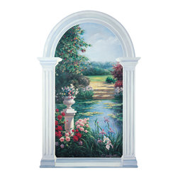 RTZ Company, Inc - Monet Inspired Trompe l'oeil Garden Window Mural - Garden View is sure to add dramatic interest to your decor and will become a great conversation piece. Reminiscent of Monet's waterlilies, the impressionistic pond is surrounded by colorful flowers. Pink roses spill from the white urn on a classic pedastal becoming a focal point. The serene setting is framed by a trompe l'oeil style mouldings. I'm often asked if the frame is real. No, it is just painted to look that way. Enjoy! -Trish