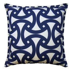 Santorini Marine Pillow - The unique and fresh geometic motif on this plush throw pillow allows it to work in both a contemporary and a traditional home (and everything in between). We love how the rich blue color highlights the intricate pattern. Create your own custom look by mixing and matching this with other pillows in the collection!