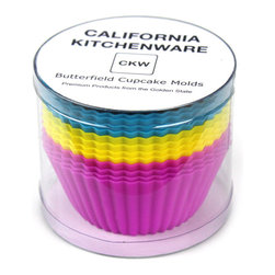 California Kitchenware - California Kitchenware Butterfield Silicone Cupcake Molds, Multicolor, Set of 12 - California Kitchenware Butterfield Silicone Cupcake Molds are packaged in a tube of 12 cups, making a great gift for friends or family.  Four CKW signature blue, four pink and four yellow silicone cups are made to be used in the oven up to 500 degrees F, but can also be used in the freezer or microwave.
