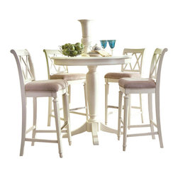 American Drew - American Drew Camden-Light 5-Piece Bar Height Ped Dining Room Set in White Paint - The Camden-Light collection melds simple forms with quiet traditional references, gentle curves and a beautiful time worn ivory finish that lets the character of the wood show through. The brushed nickel finish hardware adds even more character to the Camden collection. This line will work great in your renovated farm house or a smaller beach cottage get-away.